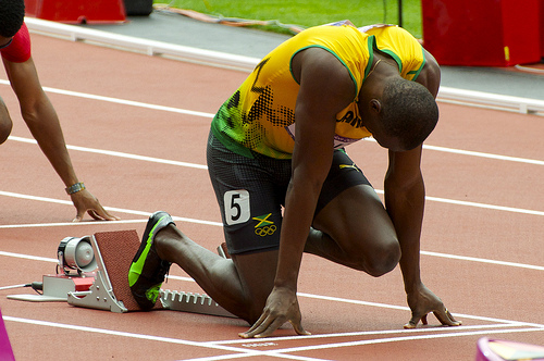 Usain Bolt on the starting blocks